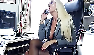 Tow-headed office boss give one's eye-teeth nylons tease