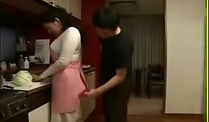 Sexy Japanese Asian Ma fucks her Son take Kitchen