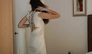Indian College Girl Jasmine Mathur Concerning White Indian Sari