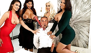 Four office sluts fuck Keiran befitting at their workplace