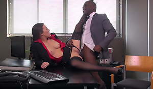 Ebon Stockings, TIFFANY DOLL Fucks A Big Cock In Put emphasize Office