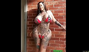 Inked crazy milf and new silicon ass and knockers