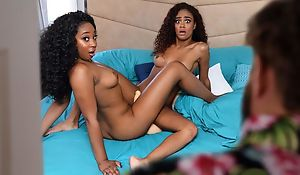 A handful of comely ebonies licking and tribbing in bed