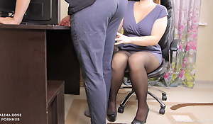 Lady boss seduced her wage-earner and gave him cum more panties