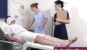 Cock caring nurses get facialized