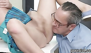 Cute schoolgirl was tempted and railed by older instructor